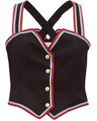 Gucci Web-striped Wool-blend Waistcoat Top - Black
