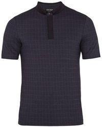 Giorgio Armani - Fantasia Checked-jersey Polo Shirt - Lyst