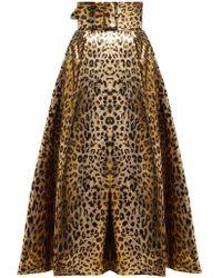 Sara Battaglia - Leopard Print Lamé Midi Skirt - Lyst