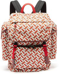 Burberry Tb Monogram Leather Trim Backpack - Red