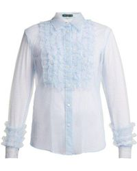 ALEXACHUNG - Ruffle-front Tulle Blouse - Lyst