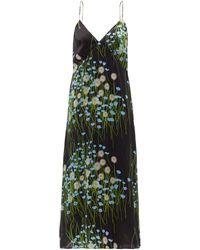 BERNADETTE フローラル シルクブレンドサテンナイトドレス - グリーン