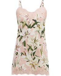 Dolce & Gabbana Lilium-print Silk-blend Crepe Nightdress - Multicolour