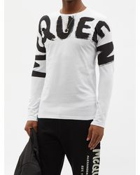 Alexander McQueen グラフィティロゴ コットン ロングスリーブtシャツ - ホワイト