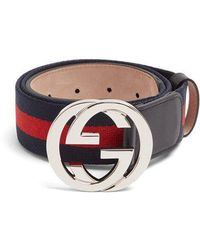 Gucci - Gg-buckle Canvas Belt - Lyst