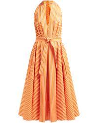 Sara Battaglia - Belted Striped Cotton Midi Dress - Lyst