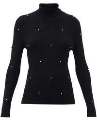 Christopher Kane Crystal-embellished Ribbed Merino-wool Sweater - Black