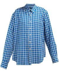 Martine Rose Wonky チェックシャツ - ブルー