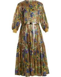Toga - Belted Floral-print Nylon Dress - Lyst