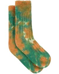 The Elder Statesman Yosemite Tie-dye Cashmere Socks - Green