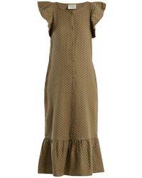 Cecilie Copenhagen - - Jehro Scarf Jacquard Cotton Dress - Womens - Khaki - Lyst