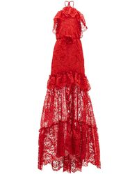 Dundas Ruffled Halterneck Guipure-lace Gown - Red