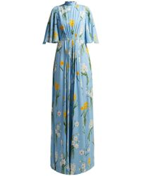 Andrew Gn - Narcissus Print Silk Crepe Dress - Lyst