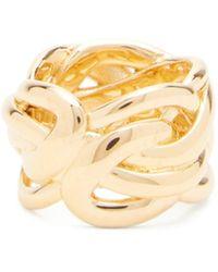 Bottega Veneta Woven 18kt Gold-plated Sterling-silver Ring - Metallic