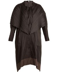 Issey Miyake - Contrast-panel Pleated Coat - Lyst