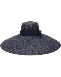 Lola Hats Chapeau de paille Grand Rise and Shine - Bleu