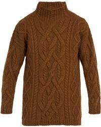 CONNOLLY - Oversized Aran Knit Wool Blend Jumper - Lyst