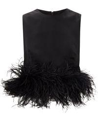 16Arlington Dickinson Feather-trimmed Crepe Top - Black