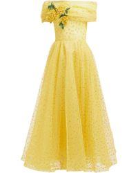 Rodarte Floral Appliqué Polka Dot Tulle Gown - Yellow