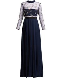 Self-Portrait Sequinned Star Tulle And Crepe Dress - Blue