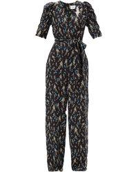 Erdem Iberis Floral-print Silk Crepe De Chine Jumpsuit - Black