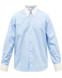 Wales Bonner ガブリエル コットンポプリンシャツ - ブルー
