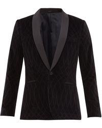 Paul Smith Shawl-lapel Patterned Velvet Tuxedo Jacket - Black