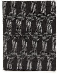 AU DEPART Leather-trim Metallic-jacquard Passport Holder - Black