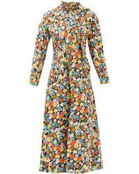 Ganni Robe en popeline de coton à imprimé floral - Multicolore