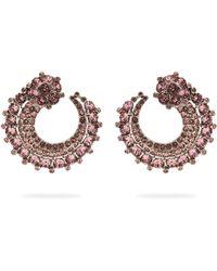 Oscar de la Renta - Curved Crystal Embellished Earrings - Lyst