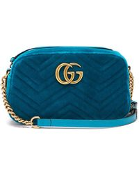 1f8408ead Lyst - Gucci 'gg Marmont' Mini Quilted Velvet Crossbody Bag in Green