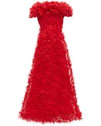Rodarte Robe de soirée en tulle à appliqués rosette - Rouge