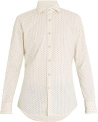Glanshirt   Floral-print Long-sleeved Cotton-blend Shirt   Lyst