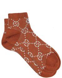 Gucci GG Lamé Socks - Brown