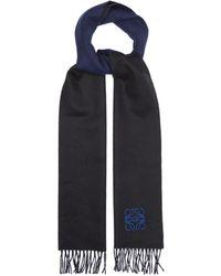 Loewe ウールカシミアスカーフ - ブルー