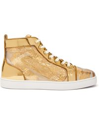 Christian Louboutin Louis Foil-embellished High-top Leather Sneakers - Metallic