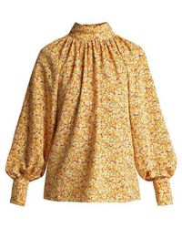 Anna October - Floral-print High-neck Cotton Blouse - Lyst