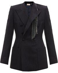 Christopher Kane Crystal-fringed Slubbed-crepe Suit Jacket - Blue