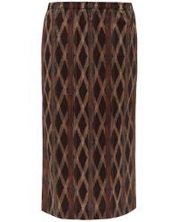 Raey Elasticated Waist Aztec Print Cotton Midi Skirt - Multicolour