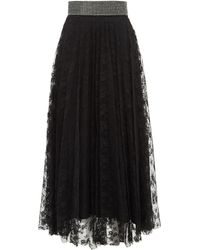 Christopher Kane Crystal-embellished Floral-lace Skirt - Black