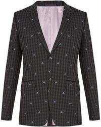 Gucci - Bee Embroidered Single Breasted Wool Suit - Lyst
