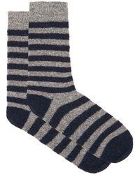 Howlin' By Morrison Cosmonaut Striped Merino Wool-blend Socks - Blue