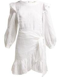 Étoile Isabel Marant Robe en lin à volants Telicia - Blanc