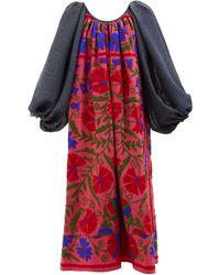 Rianna + Nina Suzani-embroidered Cotton Midi Dress