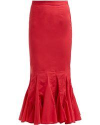 RHODE Sienna Fishtail Cotton Midi Skirt - Red