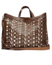 Fendi Cut-out Logo Leather Shopper Bag - Brown