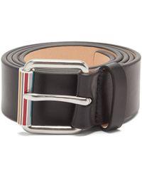 Paul Smith Signature-stripe Leather Belt - Black