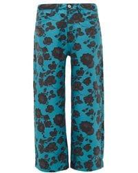 Marques'Almeida Floral-jacquard Wide-leg Jeans - Blue