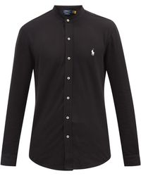 Polo Ralph Lauren ノーカラー コットンピケシャツ - ブラック