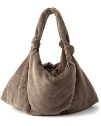 Lemaire Large Knotted-strap Alpaca-blend Tote Bag - Brown